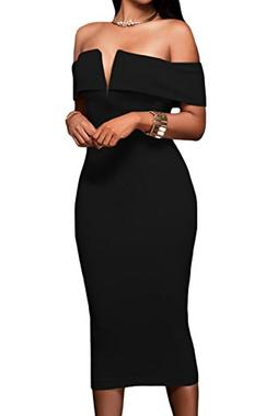 Alvaq Women's Sexy V Neck Off The Shoulder Evening Bodycon C
