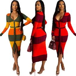 Sexy Women Colors Patchwork Scoop Neck Long Sleeve Buttons B