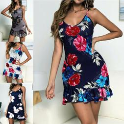 Sexy Womens Sleeveless V Neck Floral Sundress Ladies Summer
