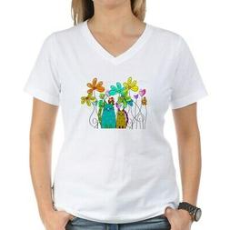 CafePress Spring Flowers 14 T Shirt Womens Cotton V-Neck T-s
