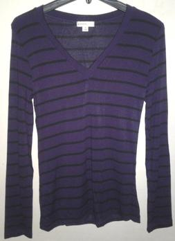 Zenana Outfitters Striped Purple Black V-Neck Shirt Top Wome
