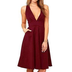 YOOHOG Summer Women's A-Line Sleeveless Deep V-Neck MIDI D