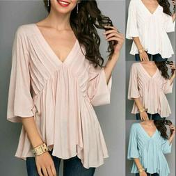 Summer Women's Bell Sleeve Blouse Chiffon Casual Tops Loose