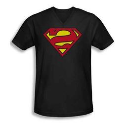 Superman Classic Logo Short Sleeve Adult V Neck T Shirt Colo
