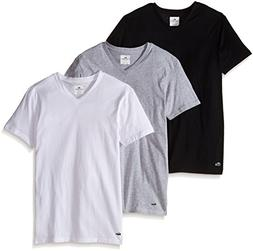 Lacoste Men's 3 Pack Supima Cotton V Neck Tee, Black, Grey,
