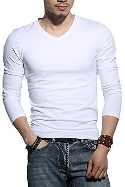 Men's Tagless Slim Fit Top Muscle Cotton V-Neck Long Sleeve