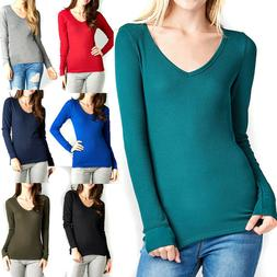 Thermal V-NECK NECK Long Sleeve Basic Top Womens T-Shirt Pla