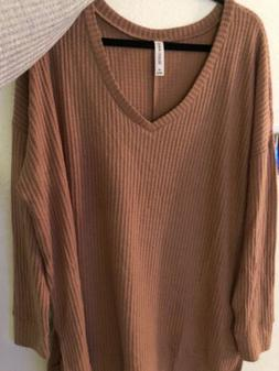 Zenana Outfitters Top 1xl Long Sleeve V Neck Waffle Thermal
