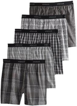 Hanes Ultimate Men's 5-Pack Yarn Dye Exposed Waistband Boxer