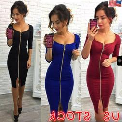 US Sexy Womens Deep V Neck Bodycon Front Zipper Cocktail Lad