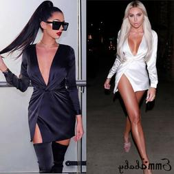 US Sexy Womens V-neck Bandage Bodycon Club Evening Party Sho