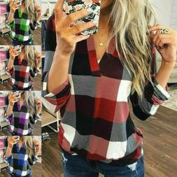 US Women Casual Loose V Neck Plaid Shirt Button Stand Collar