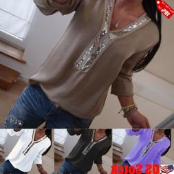 US Women Clubwear Sequin V Neck Long Sleeve Tops Casual T-Sh
