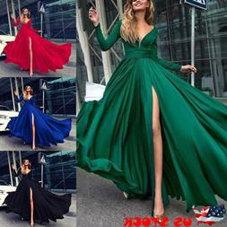 US Women V Neck Long Sleeve Maxi Dress Split Evening Cocktai