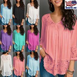 US Womens Lace V Neck 3/4 Sleeve Blouse Tops Summer Casual T