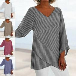 US Womens Striped V Neck Blouses Loose Baggy Tops Tunic T Sh