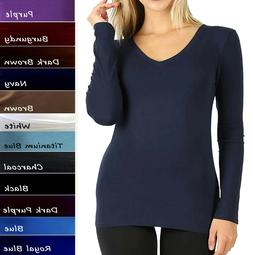 V-Neck Long Sleeve T Shirt Basic Plain Solid Cotton Spandex