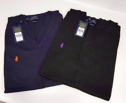 Ralph Lauren V Neck Pima Big Tall Sweater Vest Navy Black 2X