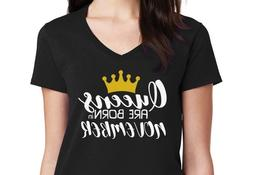 V-neck QUEENS Are Born in November #4 Shirt Birthday Gift Mo