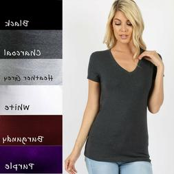 V-Neck Short Sleeve T Shirt Plain Solid Top Stretchy Cotton