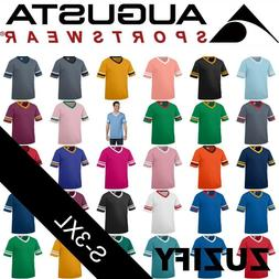 Augusta Sportswear V-Neck T-Shirt Jersey with Striped Sleeve