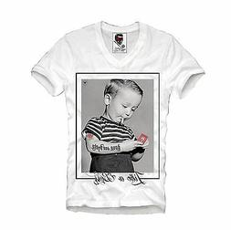 E1SYNDICATE V-NECK T-SHIRT ROCKABILLY TATTOO WASTED YOUTH DI