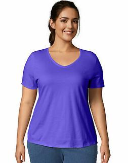 Just My Size V Neck Tee Women's Cotton Jersey Short-Sleeve P