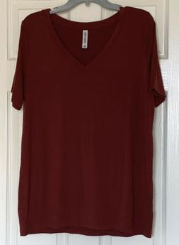 Zenana Premium V Neck Top Rust Colored Size XL New Without T