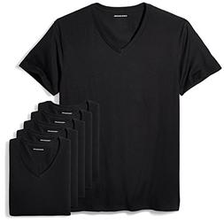Amazon Essentials Men's 6-Pack V-Neck Undershirts, black, La