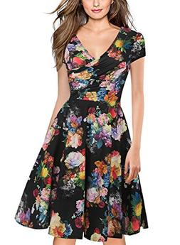 oxiuly Women's Vintage V-Neck Floral Casual Party Cocktail A