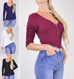 Warm Thermal Knit Henley Shirt Top Women's V-Neck Long Sleev