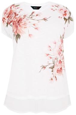YOURS White & Multi Embellished Floral Print Top With Chiffo