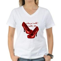CafePress Wizard Of Oz Red Ruby Slippers T Shirt V-Neck T-Sh