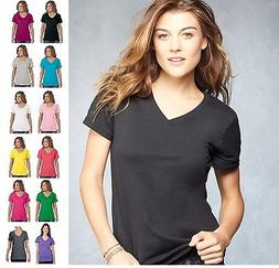 *ANVIL Woman's Sheer Featherweight V-Neck Tee T-Shirt XS-2XL