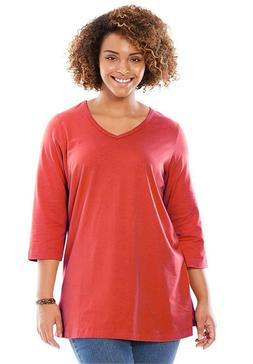 Woman Within Plus Size V-Neck Three-Quarter Sleeve Perfect T
