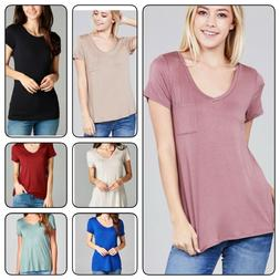 Women Basic Short Sleeve Stretch V-Neck  Loose Top With Pock