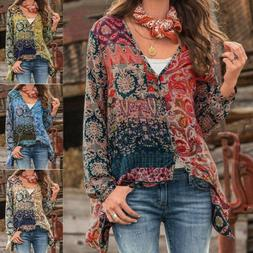 Women Boho Floral V-Neck Long Sleeve Casual Button up Blouse