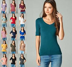 Women Basic Elbow Sleeve Stretch V-Neck Plain Top Solid Colo
