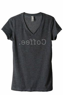 Thread Tank Women Charcoal COFFEE. V-Neck Tee Size M #426823