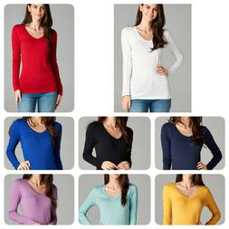 Women Long Sleeve V-NECK T-Shirt Active Basic Cotton Layerin
