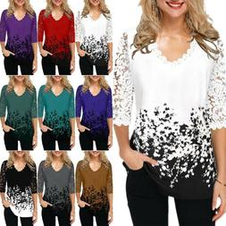 Women's 3/4 Sleeve V Neck Lace T Shirt Floral Loose Blouse T