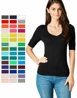 Women's Basic V-Neck Elbow Sleeve T-Shirt Short Sleeve Stret
