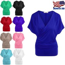 Women's Batwing Sleeve Wrap Front Top Ladies Casual T-shirt