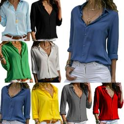 Women's Casual V Neck Long Sleeve Blouse Loose Tops Office L