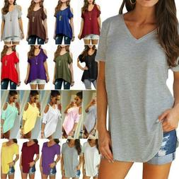 Women's Loose Tunic Tops T Shirt Casual Summer Crew/V Neck B