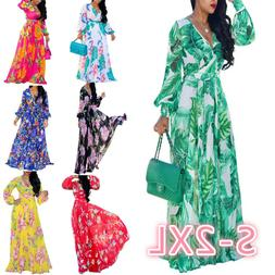 Women's Maxi Long Dress Plus Size V Neck Long Sleeve Floral
