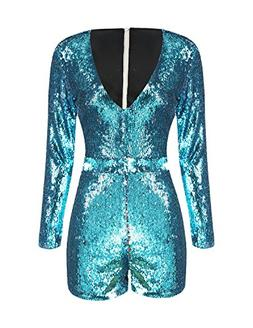 HaoDuoYi Women's New Year's Sparkly Sequin V Neck Party Club