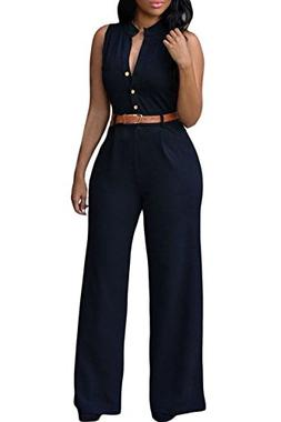 roswear Women's Sexy Plunge V Neck Belted Wide Leg Jumpsuits