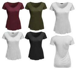 FashionOutfit Women's Solid Basic V-Neck Relaxed Loose Tee S