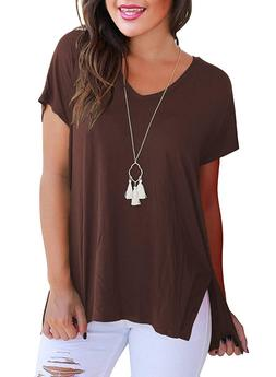 Women's Summer Casual Loose V Neck T Shirts Plus Size Tops S